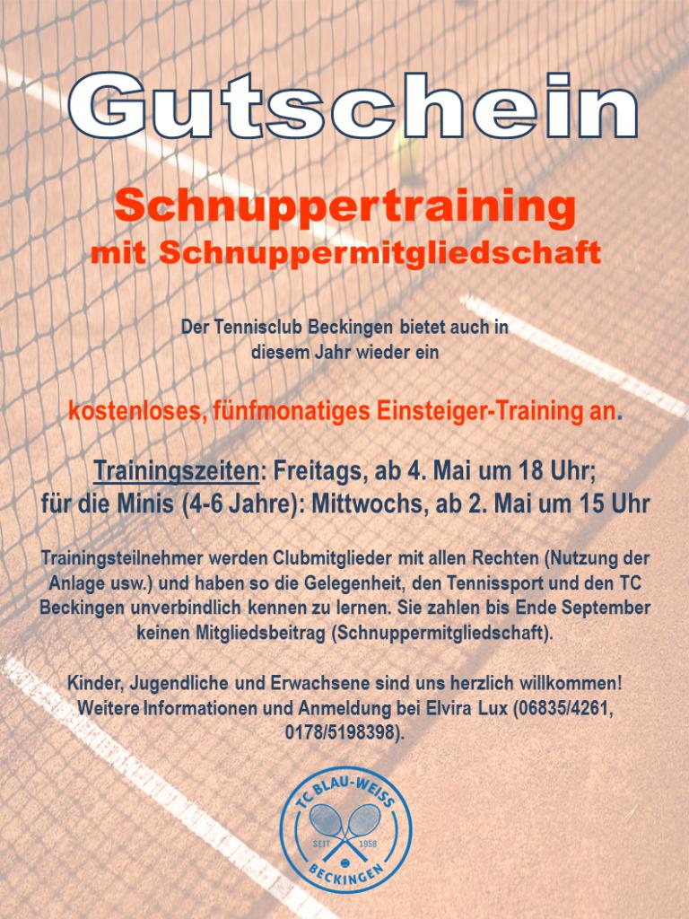 Schnuppertraining Gutschein 2018