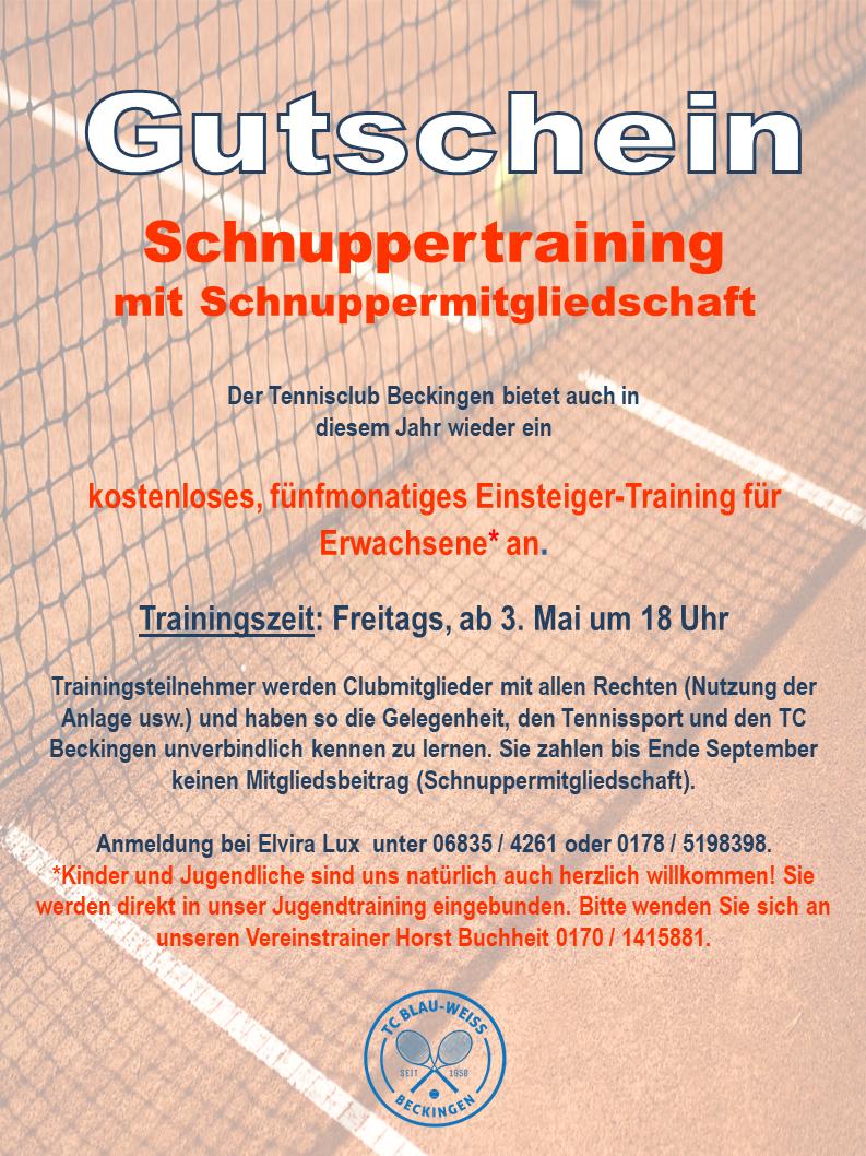Schnuppertraining Gutschein 2019
