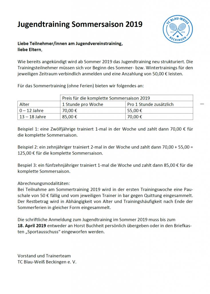 Infobrief Jugendtraining