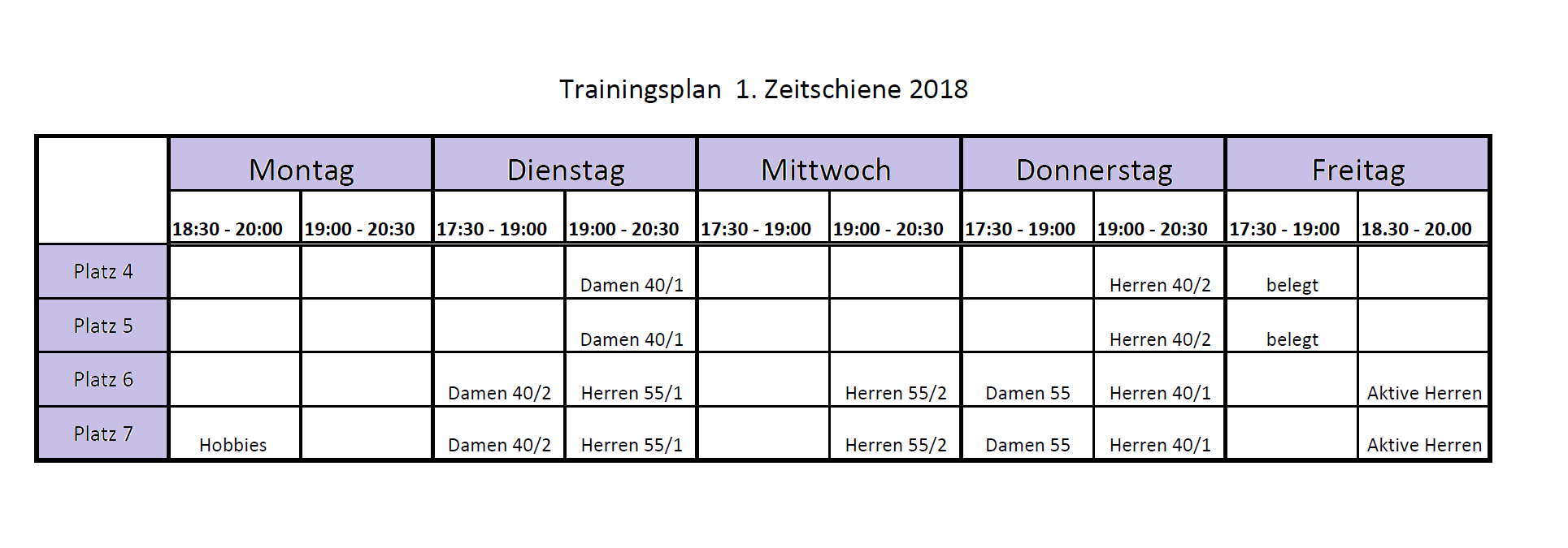 Traininsplan 2018 1.ZS